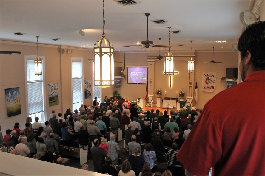 Congregation as seen from above during 150th Anniversary