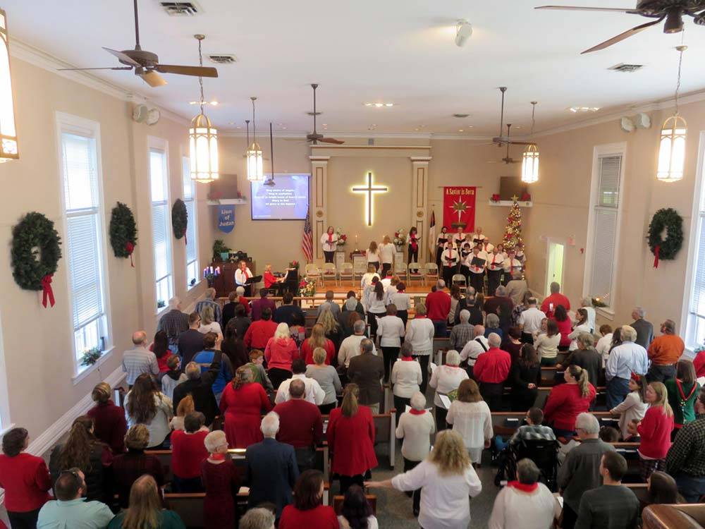 Christmas celebration as seen from upstairs rear.