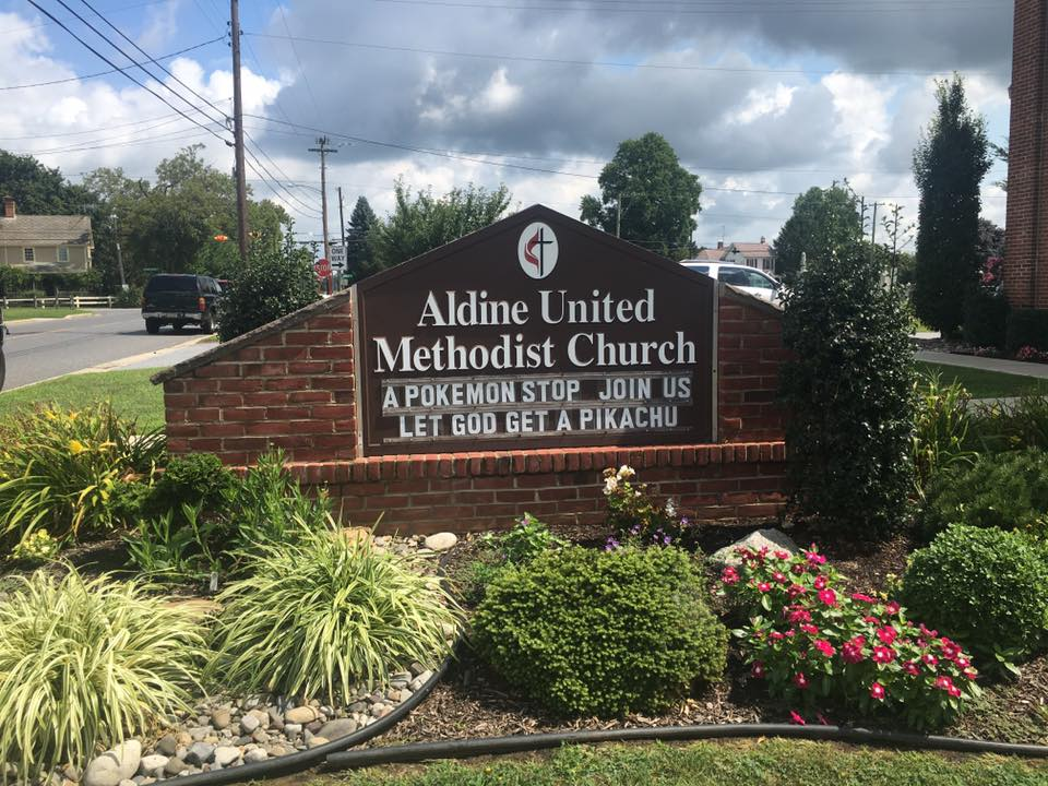 Aldine UMC sign in front of church